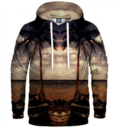 hoodie with beach and palmtrees motive