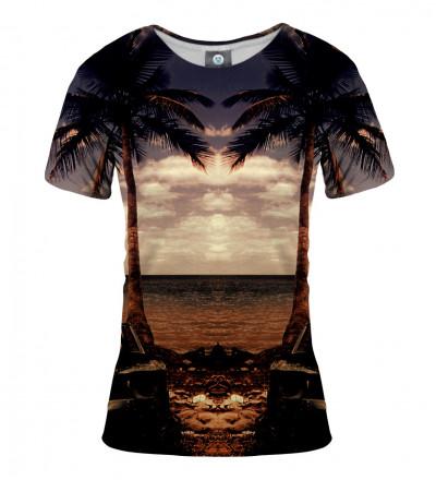 koszulka damska z motywem palm i plaży