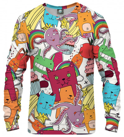 sweatshirt with colorful monsters