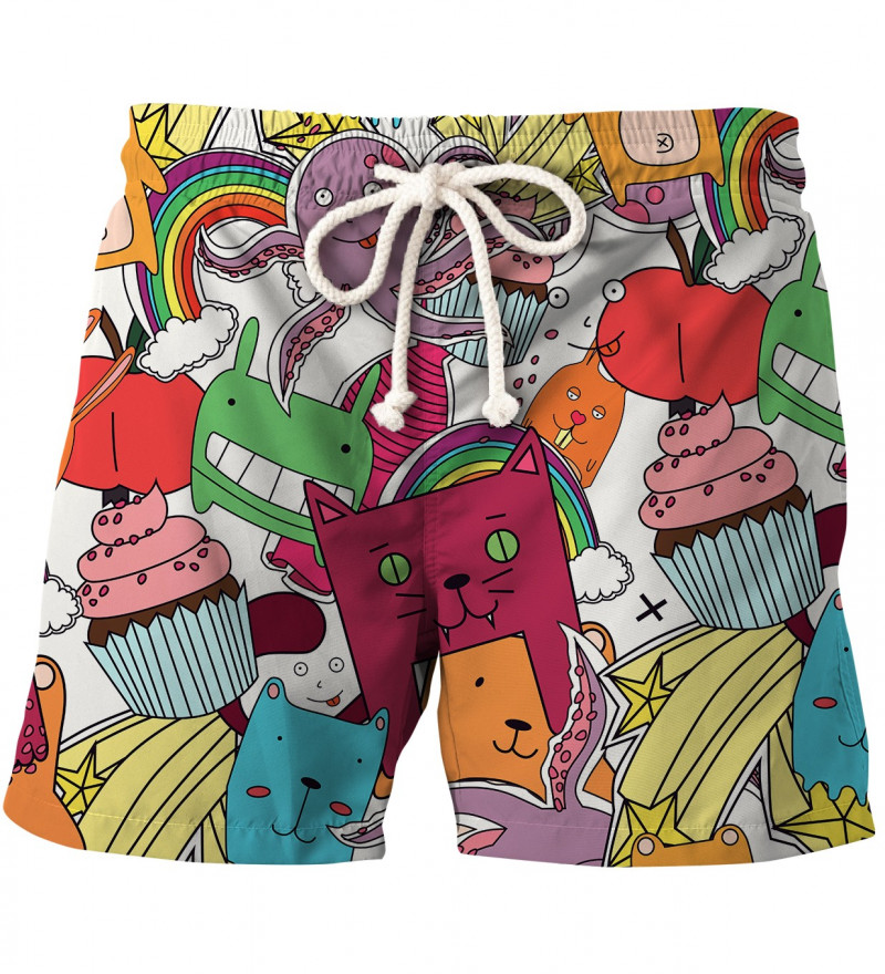 shorts with funny monsters motive