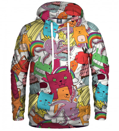 hoodie with funny monsters motive