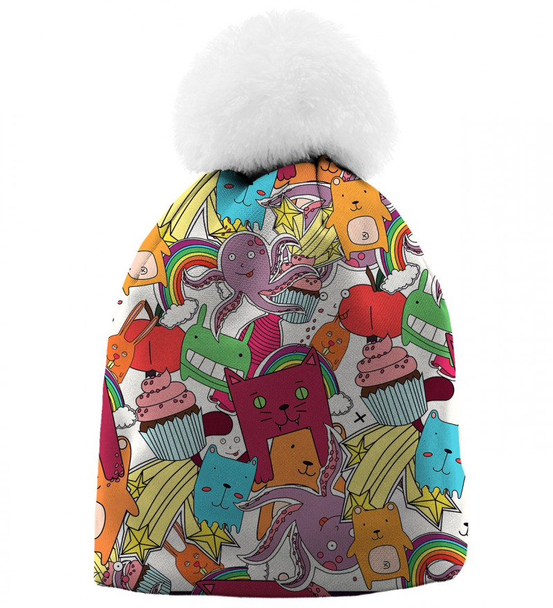printed beanie with funny monsters