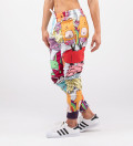 Joggers with funny monsters motive