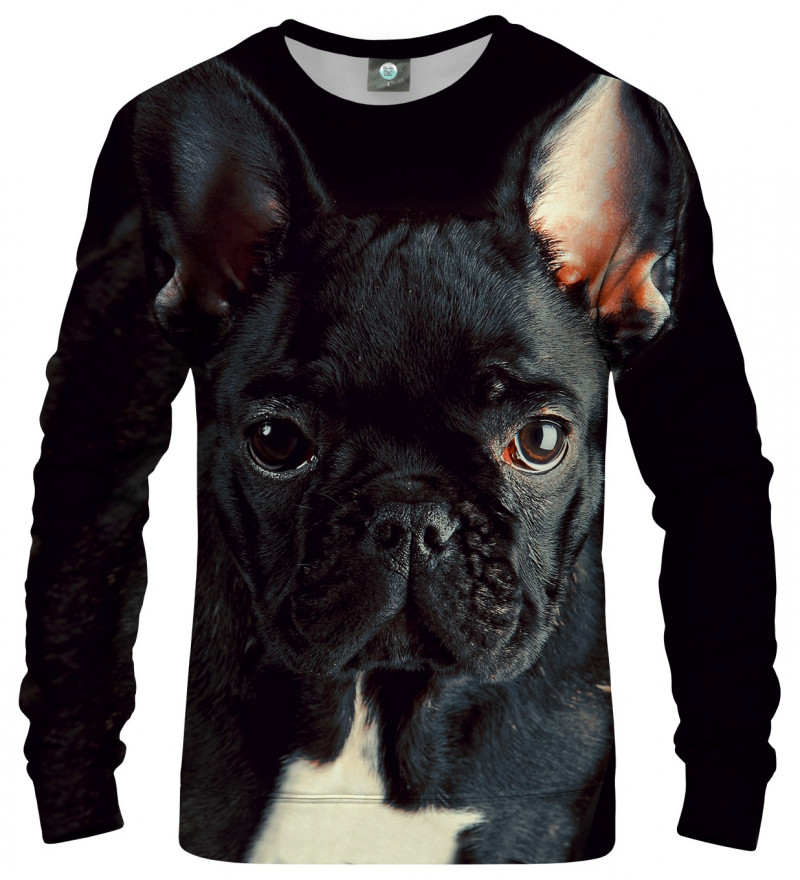 black sweatshirt with buldog motive