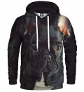 black hoodie with buldog motive