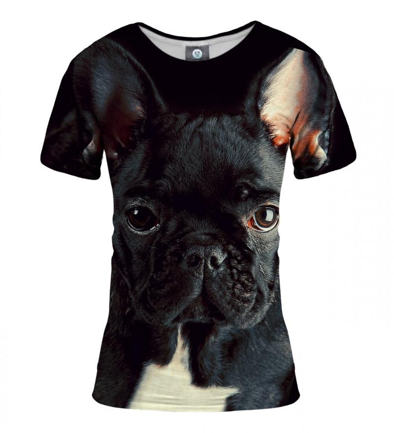 black tshirt with buldog motive