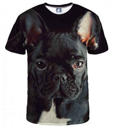 czarna koszulka z motywem buldoga
