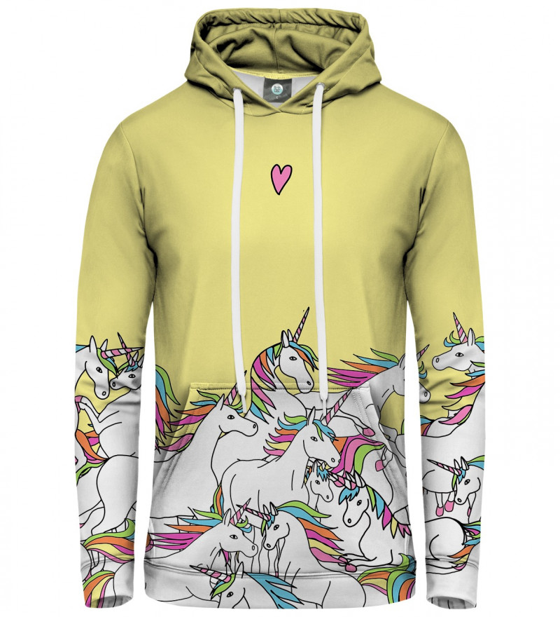 yellow hoodie with unicorn motive