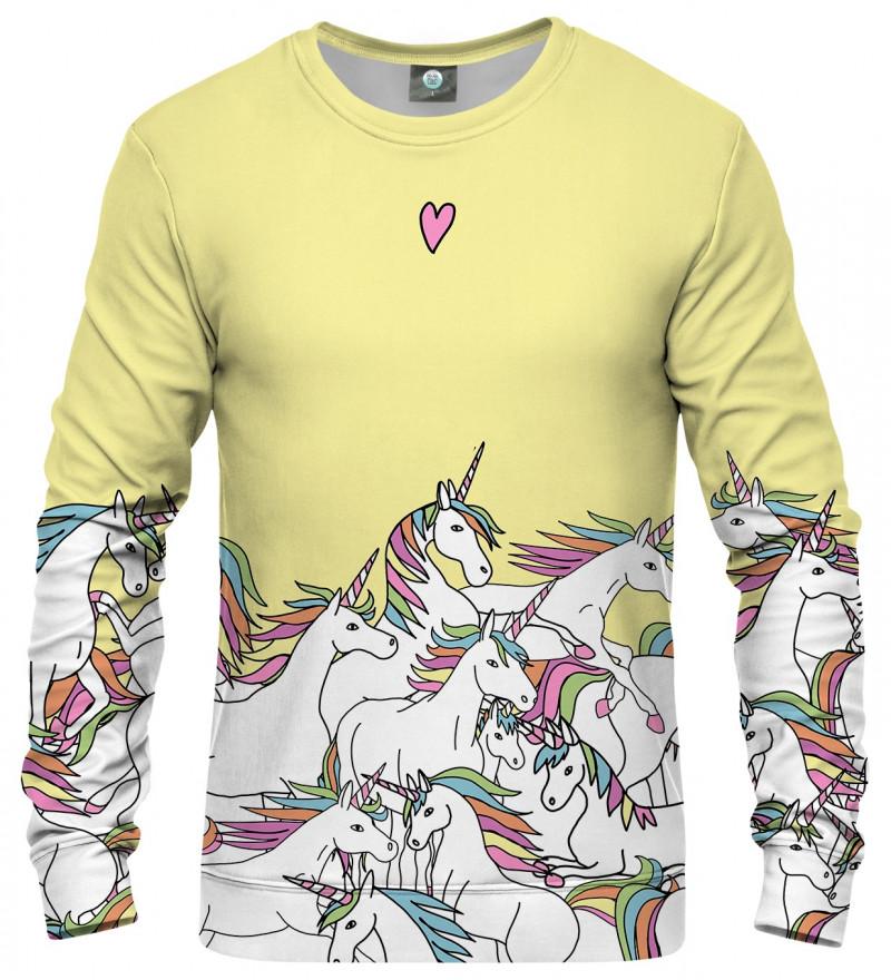 żółta bluza z motywem jednorożców