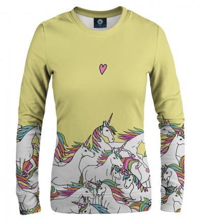yellow sweatshirt with unicorn motive