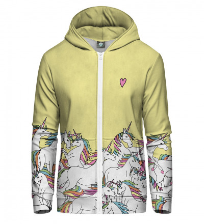 zip up hoodie with unicorn motive