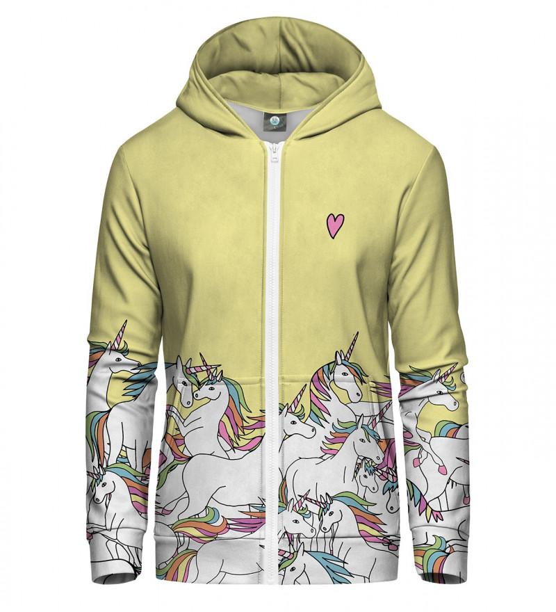zip up hoodie with unicorn motive