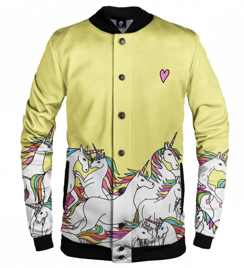 yellow bsseball jacket with unicorn motive