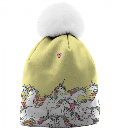 yellow printed beanie with unicorn