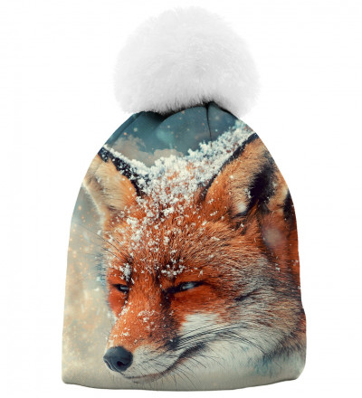 printed beanie with fox motive