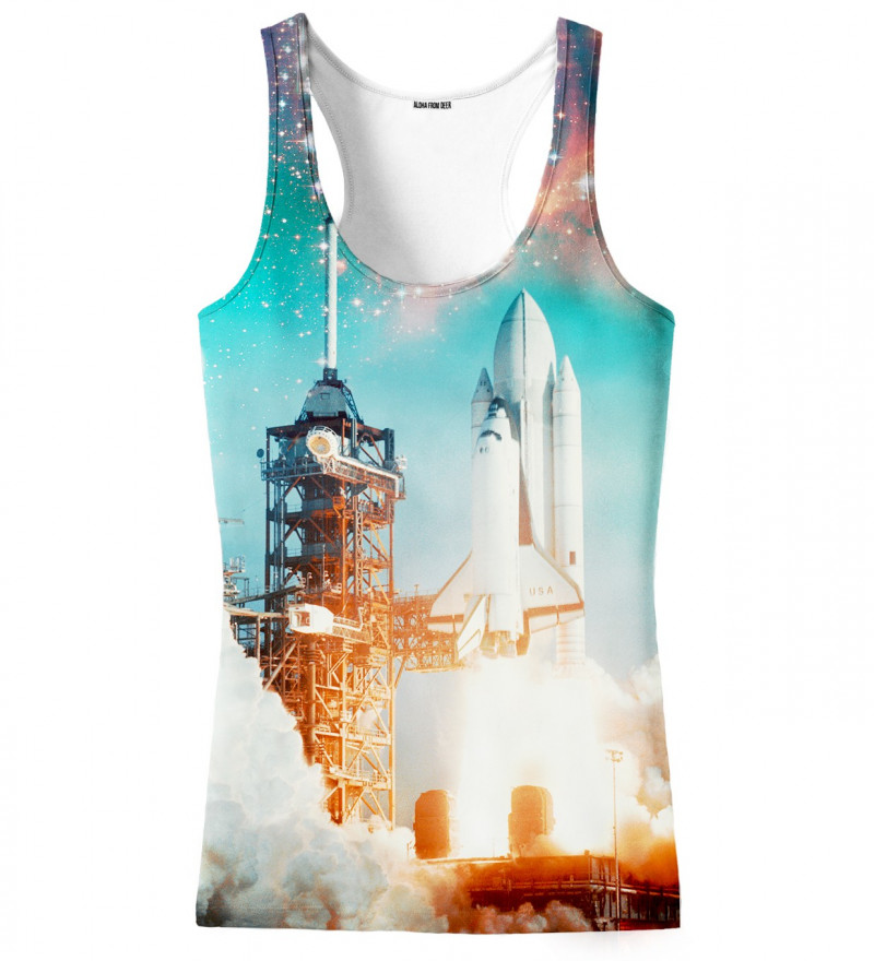 tank top with space rocket motive