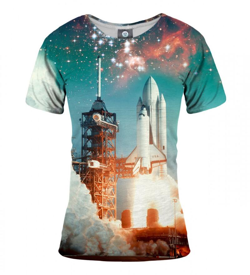 women tshirt with space rocket motive