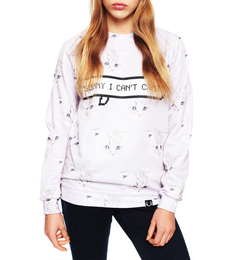white sweatshirt with cat motive and I can't care inscription