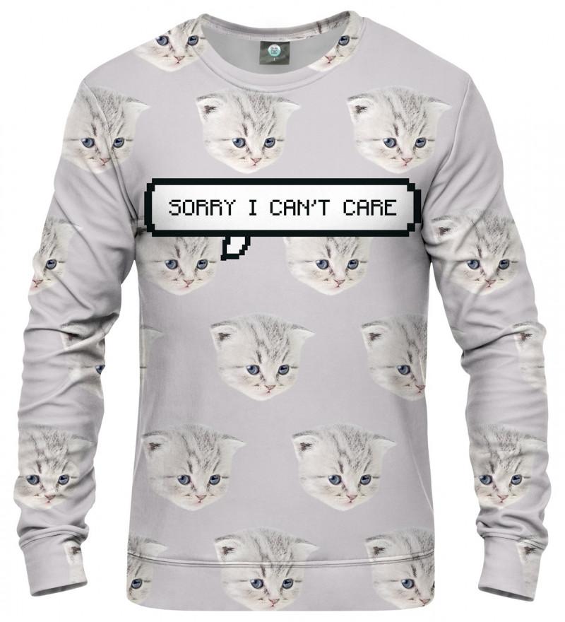 biała bluza z motywem kota i napisem I can't care