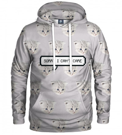 white hoodie with cat motive and I can't care inscription