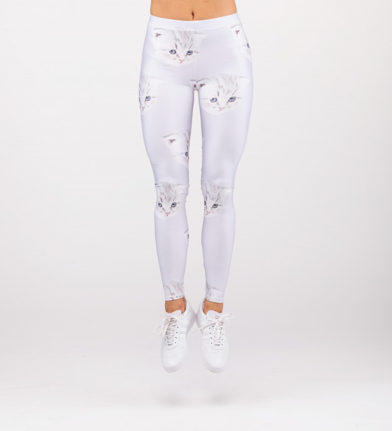 white leggings with cat motive and and I can't care inscriptions