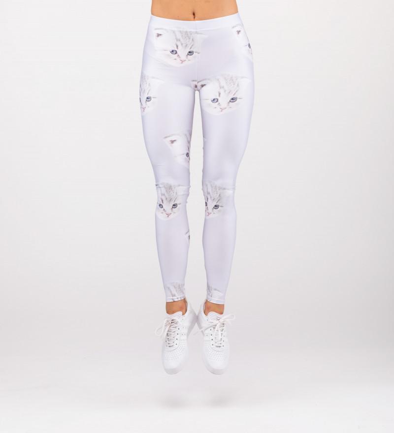białe legginsy z motywem kota i napisem I can't care