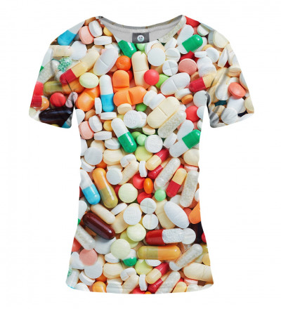 women tshirt with pills motive