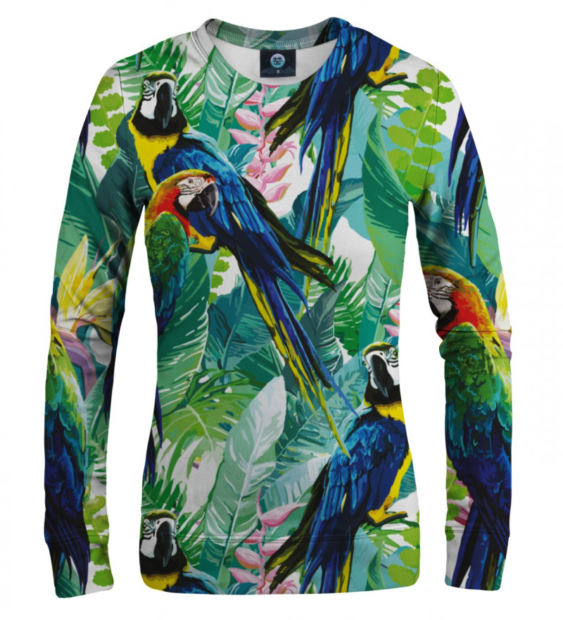 women sweatshirt with jungle and parrot motive