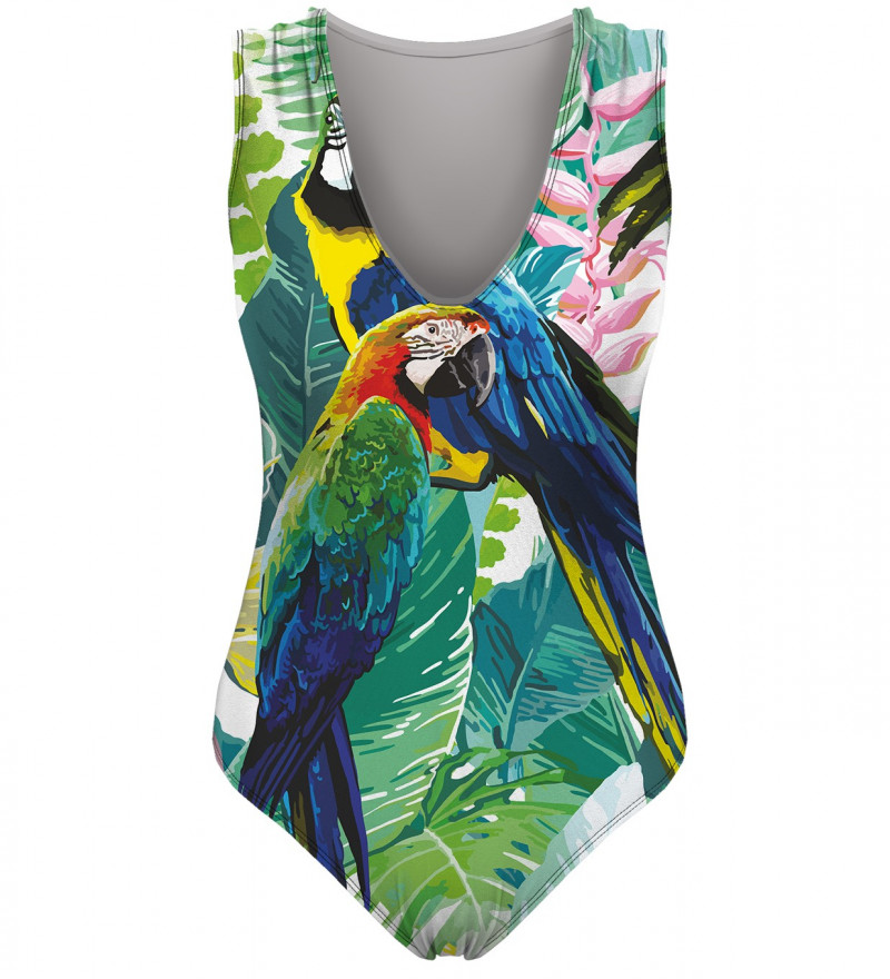 swimsuit with jungle and parrot motive