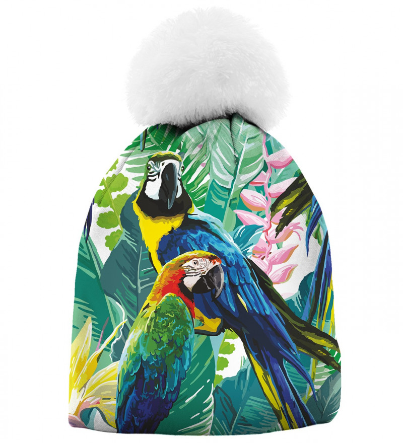 printed beanie with jungle and parrot motive