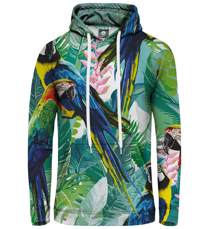 hoodie with jungle and parrot motive