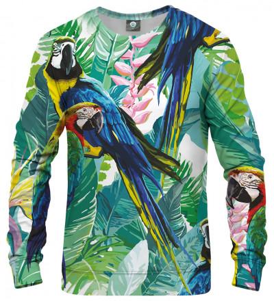 bluza z motywem dżungli i papugi