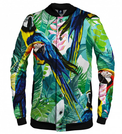baseball jacket with jungle and parrot motive