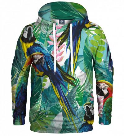 bluza z kapturem z motywem dżungli i papugi