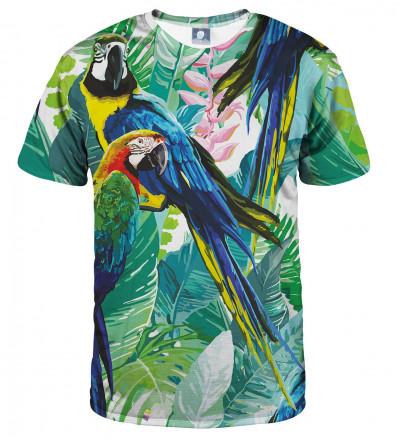 koszulka z motywem dżungli i papugi