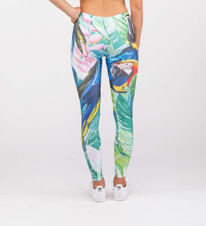 leggings with jungle and parrot motive