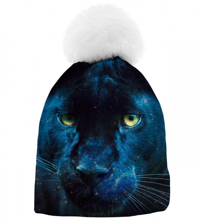 black printed beanie with cougar