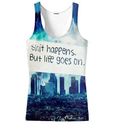 tank top with city motive and shit happens inscription