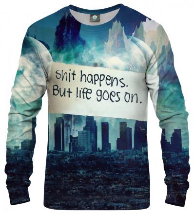 sweatshirt with city motive and shit happens inscription