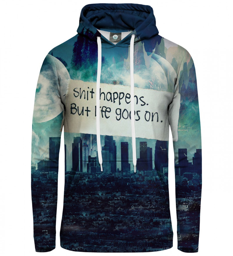 women hoodie with city motive and shit happens inscription
