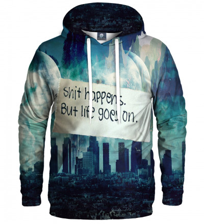 hoodie with city motive and shit happens inscription