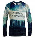 women sweatshirt with city motive and shit happens inscriptions