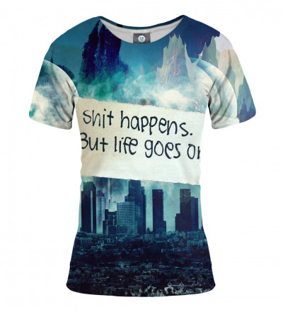 women tshirt with city motive and shit happens inscription