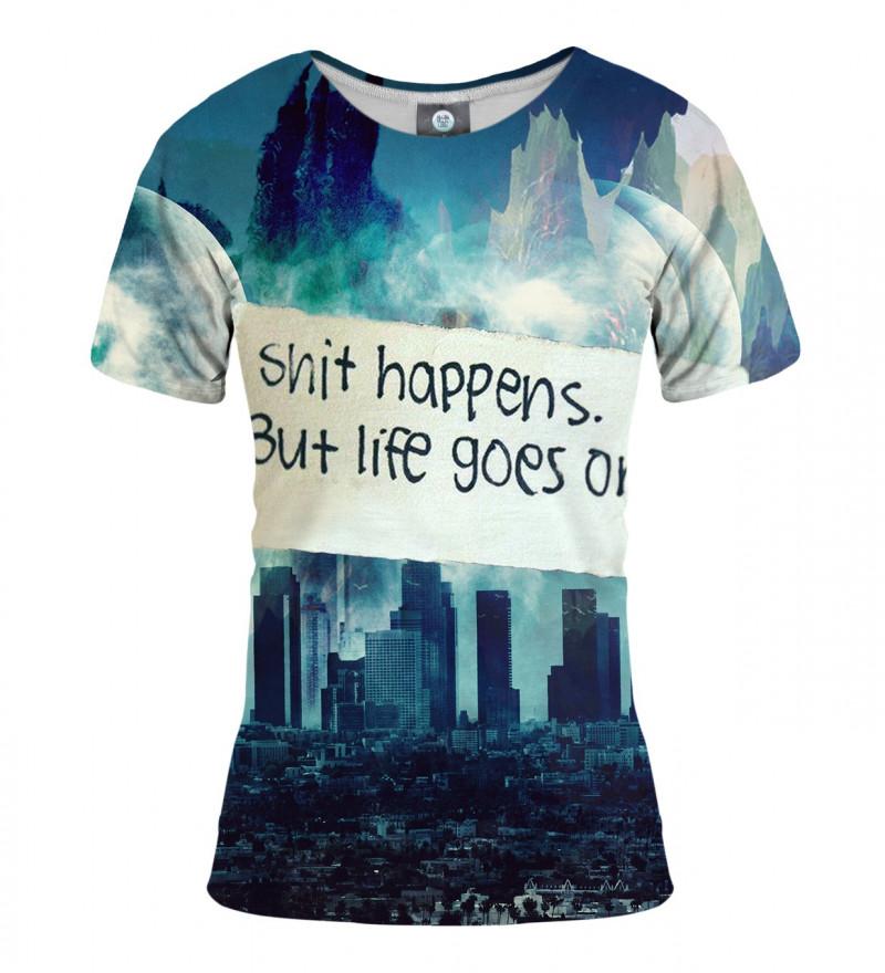 damska koszulka z motywem miasta i napisem shit happens