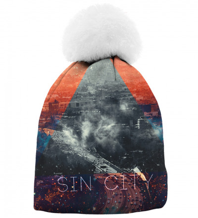 printed beanie with sin city motive