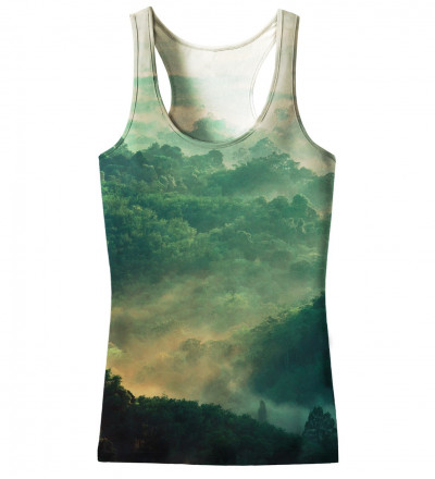 green tank top with forest motive