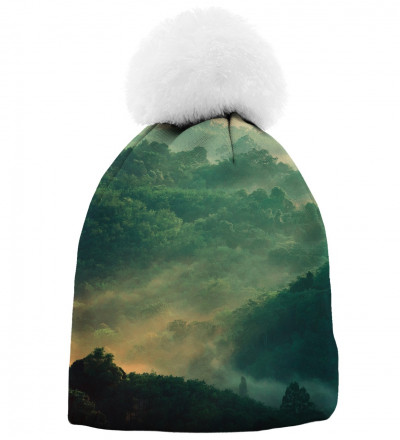 green printed beanie with forest motive