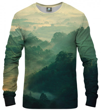 green sweatshirt with forest motive