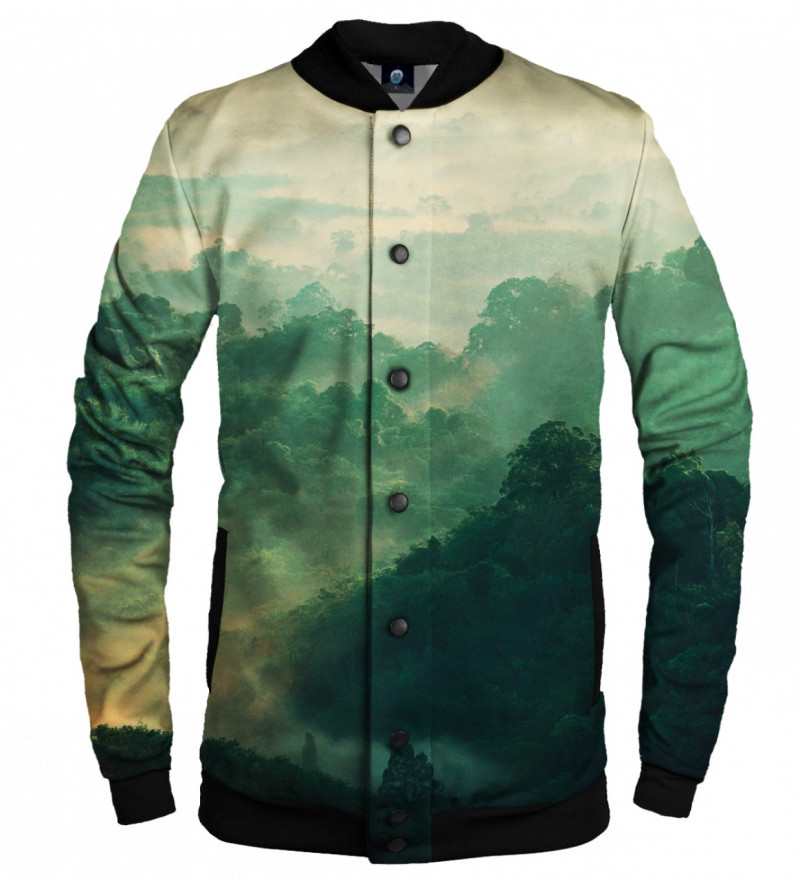 green baseball jacket with forest motive