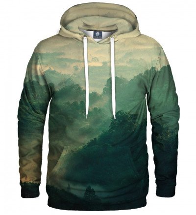green hoodie with forest motive